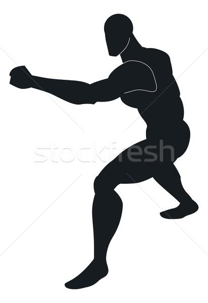 Artes marciais ilustração preto silhueta homem esportes Foto stock © Morphart