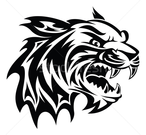 Stock photo: Tiger head tattoo, vintage engraving.