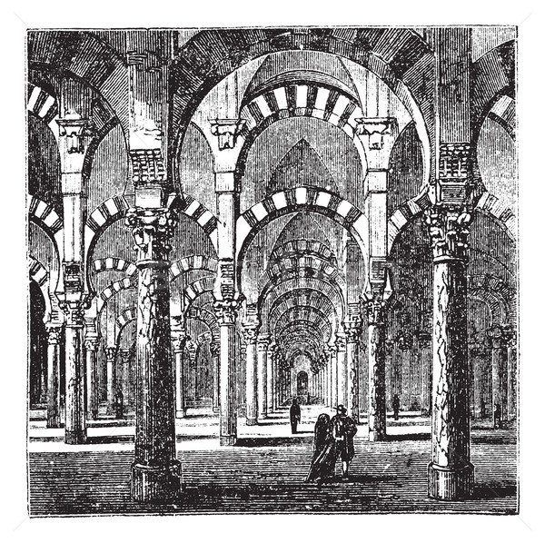 Cathedral-Mosque of Cordoba in Andalusia, Spain, vintage engravi Stock photo © Morphart