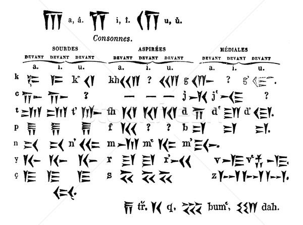 Cuneiform Script, vintage engraved illustration Stock photo © Morphart