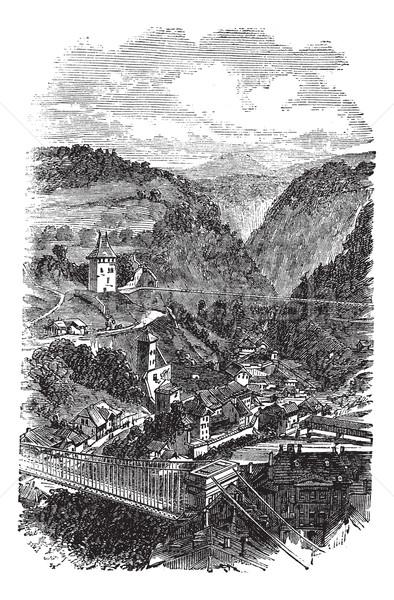 Fribourg or Freiburg im Uechtland in Switzerland  vintage engrav Stock photo © Morphart