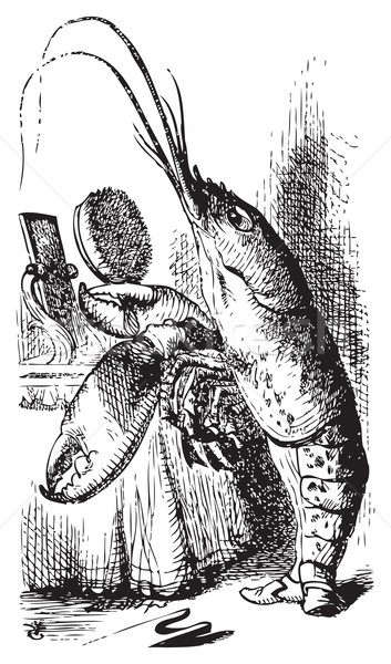 Lobster primping before a mirror - Alice's Adventures in Wonderl Stock photo © Morphart