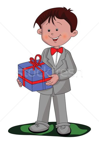 Vector of boy holding a gift box. Stock photo © Morphart