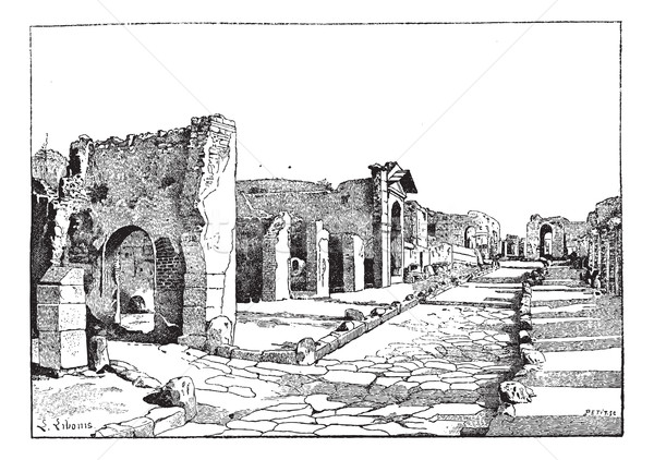 Pompei, way of the tombs, vintage engraving.  Stock photo © Morphart