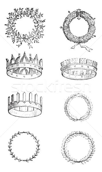 Roman Crowns, vintage engraving Stock photo © Morphart