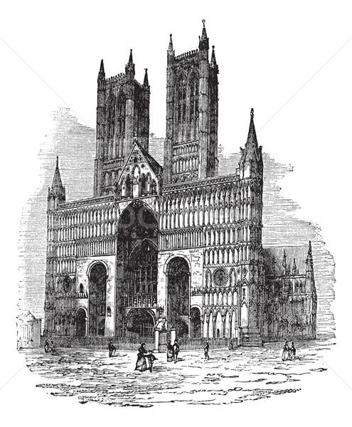 Katedrális templom szűz klasszikus gravírozott illusztráció Stock fotó © Morphart