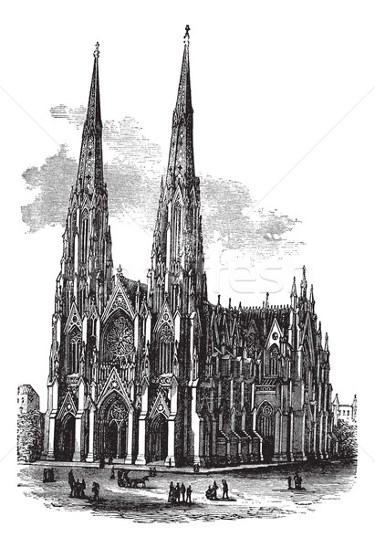 Saint Patrick's Cathedral in Armagh, Ireland, vintage engraved i Stock photo © Morphart