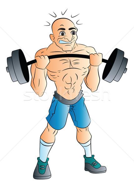 Mannelijke gewichtheffer illustratie kaal sport lichaam Stockfoto © Morphart
