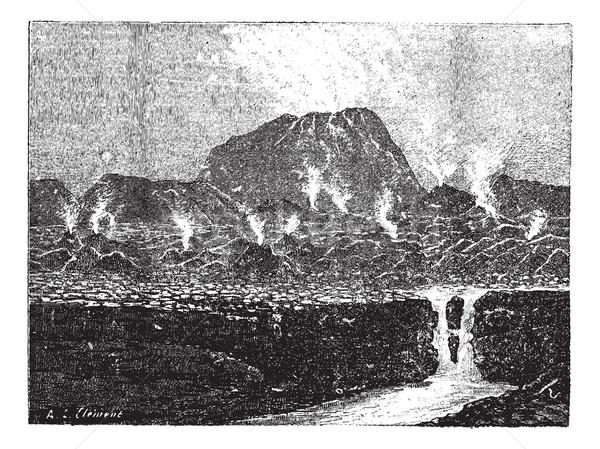 Kúp vulkán klasszikus vésés gravírozott illusztráció Stock fotó © Morphart