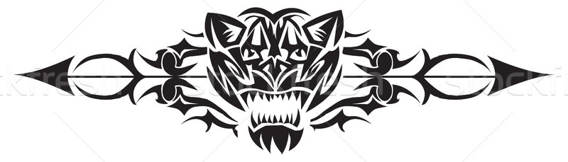 Stock photo: Tattoo design of wild cat, vintage engraving.
