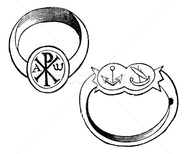 Two christian episcopal rings with symbols vintage engraving Stock photo © Morphart