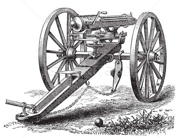 Galting gun vintage engraving. Stock photo © Morphart