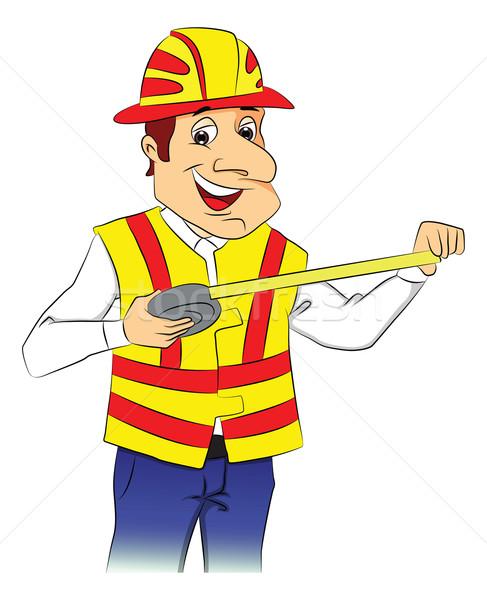 Vector of happy repairman with tape measure. Stock photo © Morphart