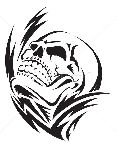 Human skull tattoo, vintage engraving. Stock photo © Morphart