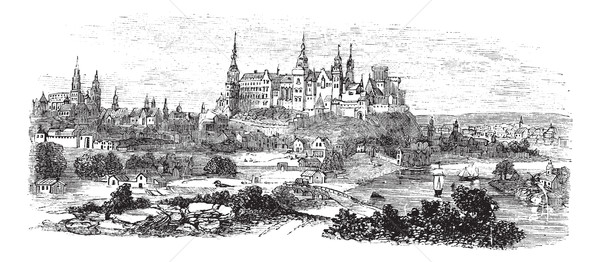 Wawel Castle or Royal Castle in Krakow, Poland, during the 1890s Stock photo © Morphart