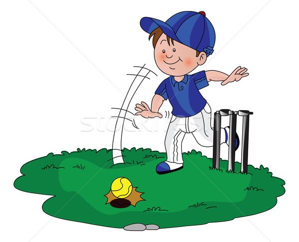 вектора мальчика играет крикет зеленый работает Сток-фото © Morphart