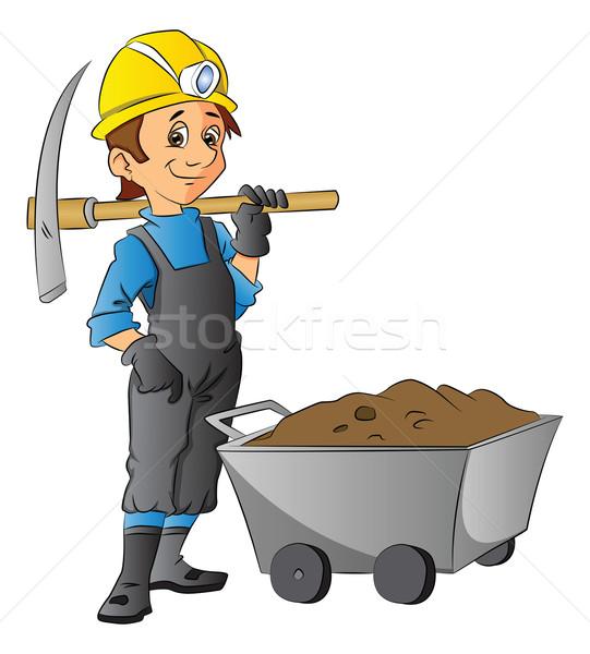Foto stock: Vetor · trabalhador · carrinho · de · mão · completo · lama