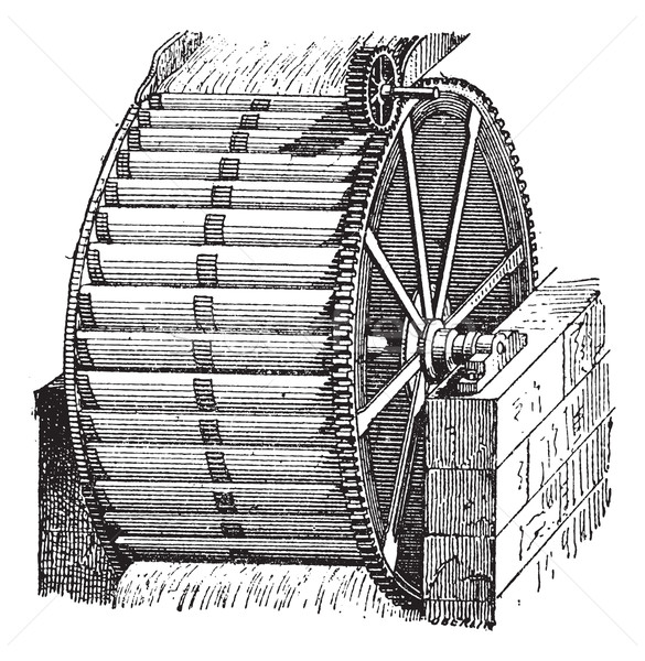 Waterwheel bucket, vintage engraving. Stock photo © Morphart