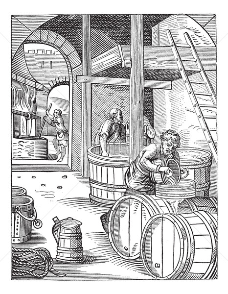 Three Brewer vintage engraving Stock photo © Morphart