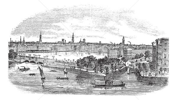 Canal and buildings at Hamburg,Germany vintage engraving Stock photo © Morphart