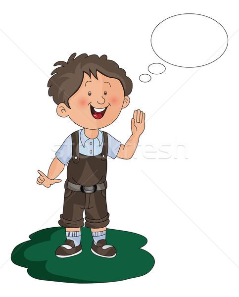 ベクトル 少年 思考バブル 靴 思考 ストックフォト © Morphart