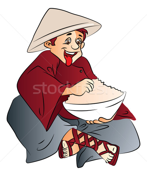 Vector of excited man with a bowl of food. Stock photo © Morphart