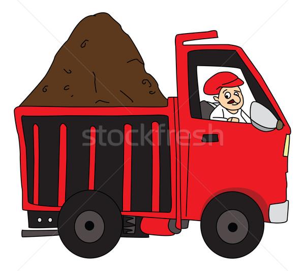 Vetor homem condução caminhão lama Foto stock © Morphart