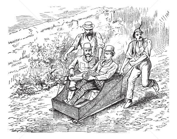 The sled, vintage engraving. Stock photo © Morphart