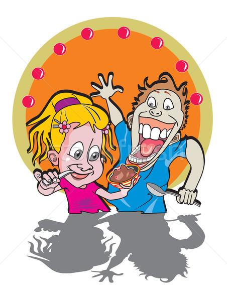 Kids eating ice cream, illustration Stock photo © Morphart