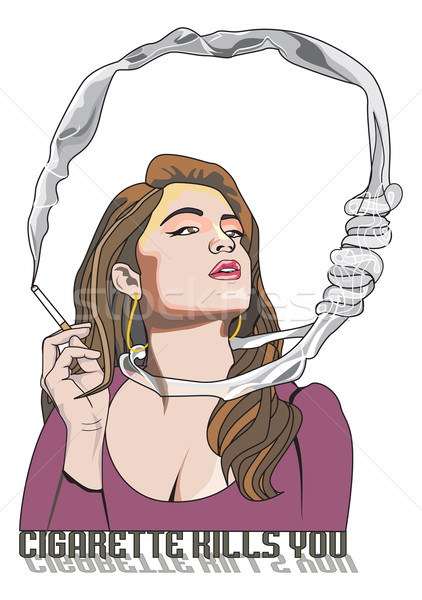 Cigarette Kills You, woman smoking, illustration Stock photo © Morphart