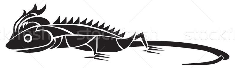 Kertenkele dövme dizayn bağbozumu oyma oyulmuş Stok fotoğraf © Morphart