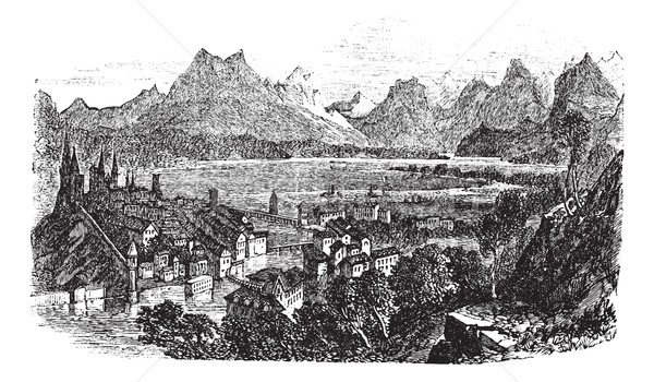 Svizzera vintage vecchio inciso illustrazione Foto d'archivio © Morphart