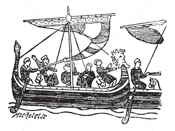 Norman Ship from the Bayeux Tapestry, vintage engraved illustrat Stock photo © Morphart