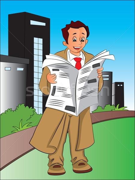 Vektor üzletember olvas újság újságok város Stock fotó © Morphart
