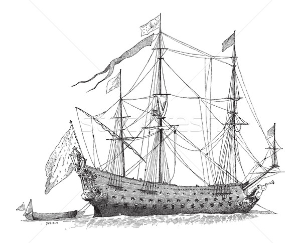 The Soleil-Royal, French Ship, vintage engraving Stock photo © Morphart