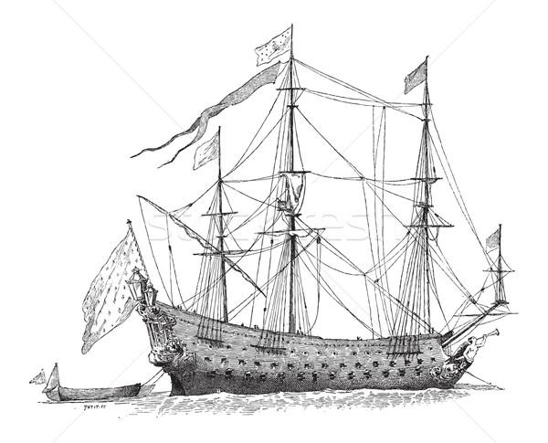 Französisch Schiff Jahrgang Gravur graviert Illustration Stock foto © Morphart