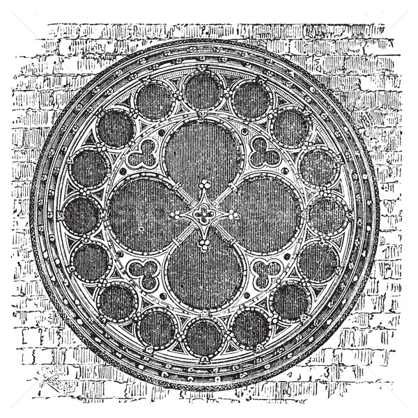 Dean's eye rose window in the North Transept of Lincoln Cathedra Stock photo © Morphart