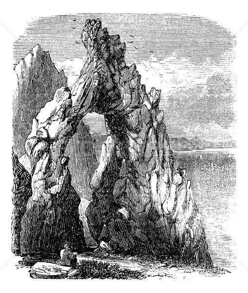 İtalya deniz doğal kaya kemer bağbozumu Stok fotoğraf © Morphart