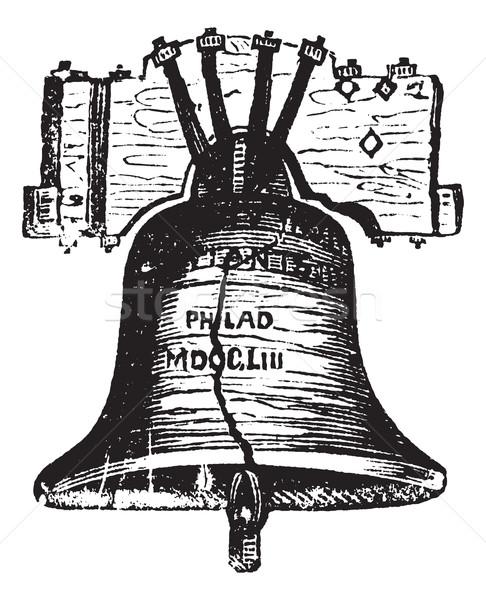 Liberty Bell, in Philadelphia, Pennsylvania, USA, vintage engrav Stock photo © Morphart