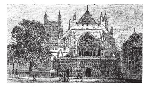 Exeter Cathedral in England, United Kingdom, vintage engraving Stock photo © Morphart