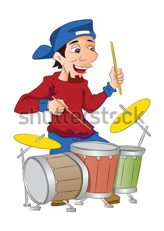 Człowiek gry perkusja ilustracja biały osoby Zdjęcia stock © Morphart