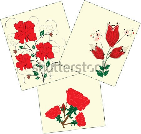 Vector floral background with red flowers  Stock photo © Morphart