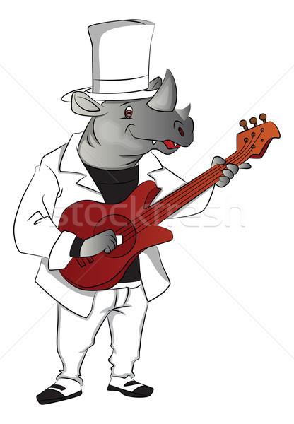 Wektora nosorożec gry gitara szczęśliwy Zdjęcia stock © Morphart