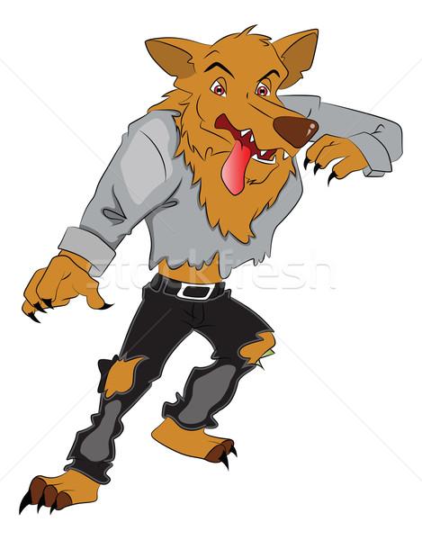 Vektör kurt agresif beyaz grafik karikatür Stok fotoğraf © Morphart
