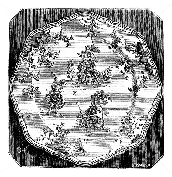 Plate of Moustiers, a grotesque decor, vintage engraving. Stock photo © Morphart