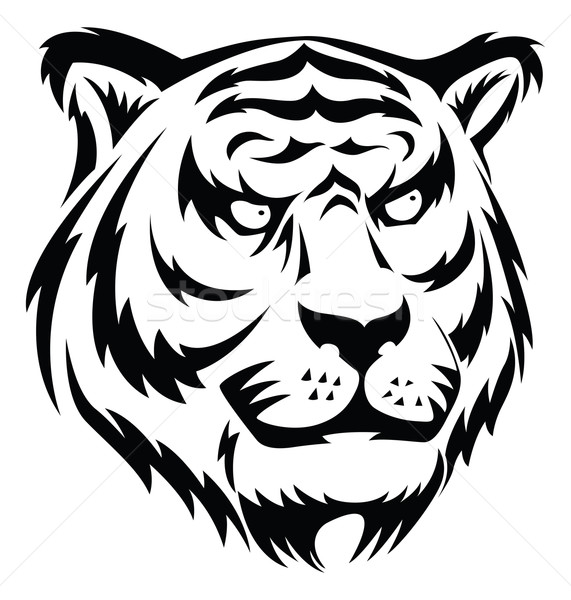 Stock photo: Tiger face tattoo, vintage engraving.