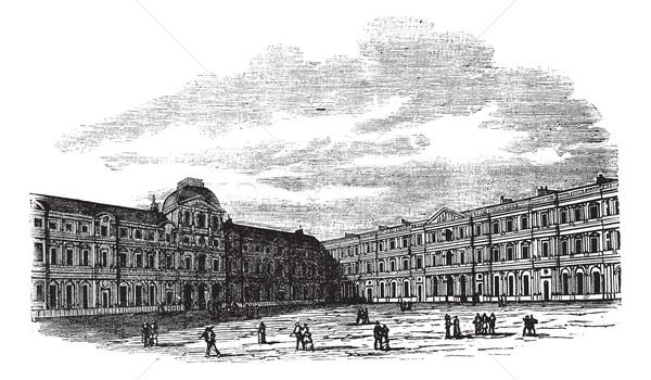 The courtyard of Louvre Palace in Paris France vintage engraving Stock photo © Morphart