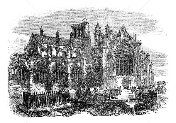 Abbaye Écosse vintage gravure gravé illustration Photo stock © Morphart