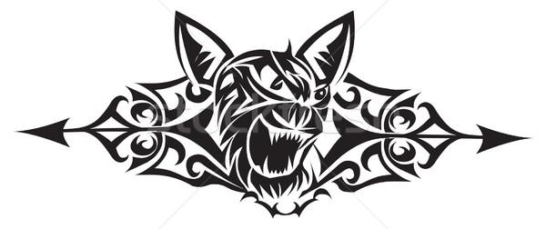 Wild cat tattoo design, vintage engraving. Stock photo © Morphart