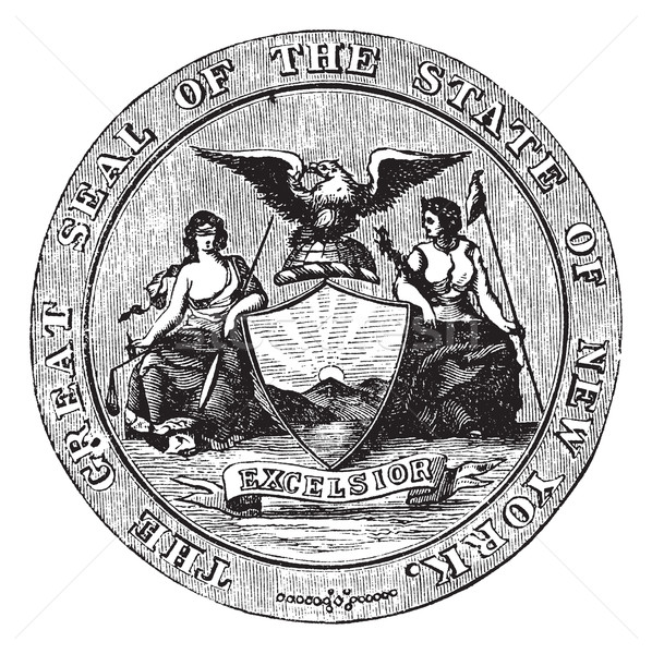Seal of the State of New York, vintage engraved illustration Stock photo © Morphart